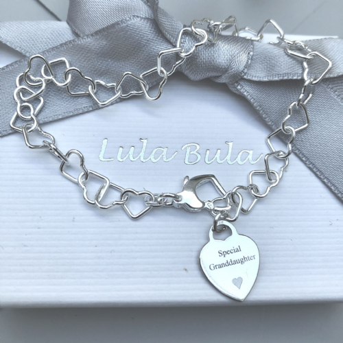 Gift for a granddaughter charm bracelet - FREE ENGRAVING